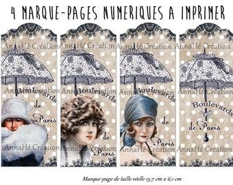 "4 bookmarks digital print ""Boulevard de Paris"""