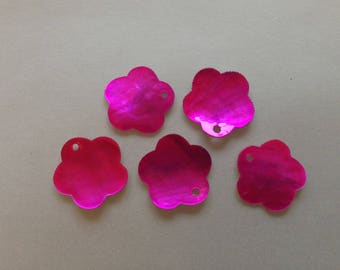 lot 10 Pearls Pearl hot pink flower ~ 15mm sequin lozenge natural /14/