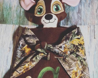 Baby Deer lovey, personalized lovey, hunting buddy, camo and brown.