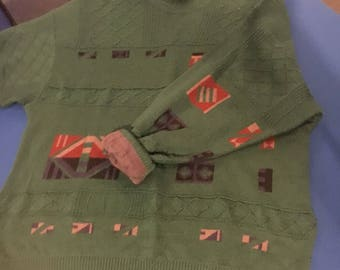 Large green print vintage jumper