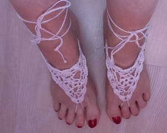 White cotton crocheted foot jewelry