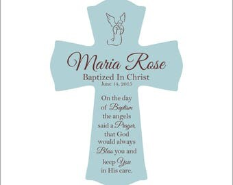"""Baptism Gift, Personalized Baptism Cross, """"On the day of your baptism the angels said a prayer, that God would always bless you and keep..."""""""