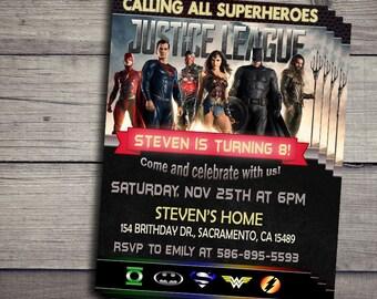Justice League Birthday Invitation, Justice League Birthday Invite, Justice League Invitations, JusticeLeague Birthday Invites,JusticeLeague