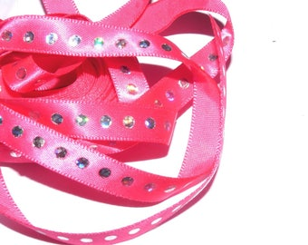 Pink 10mm satin ribbon with Rhinestone sold by the yard