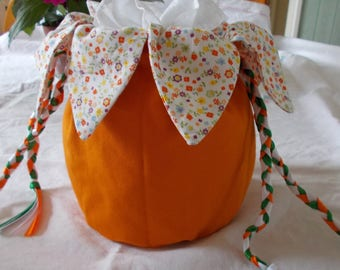 Pouch bag orange with multicolored flowers