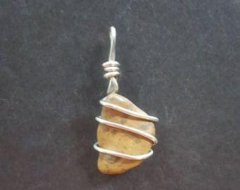 Natural Brown Stone Silver Wire Wrapped Pendant
