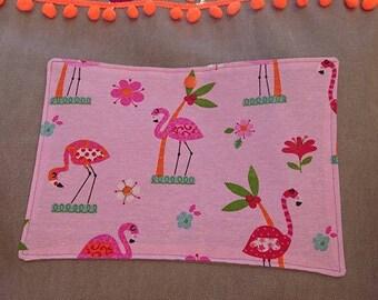 Thick cotton canvas beach bag pattern background Flamingo Pink Pompom trim