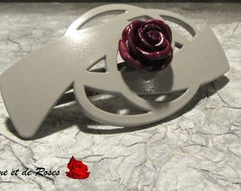 Grey with a plum rose Barrette
