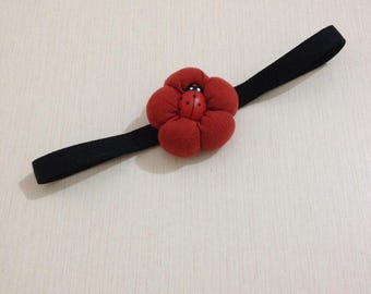 Headband with red flower button 3D Ladybug
