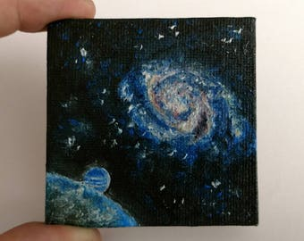 Milky Way galaxy original hand painted oil painting portrait outer space