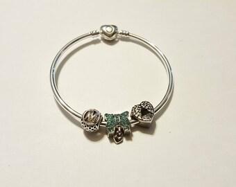 Pearl murano/silver/crystal/blue/glass/lettering/heart/love/feminine/elegant/charm European/lampwork/unique/chic love knot bracelet