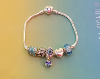 DEAR DIARY murano blue/pandora silver bracelet 925/glass/mesh of snake/European charm/Crystal/heart/enamel/pendant/shipping world