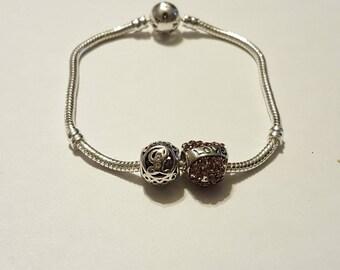 "Pearl bracelet murano ""S"" LOVE/pandora/lettering/Crystal/hearts/love/friendship/statement/mesh European snake/gift/bead/charm."
