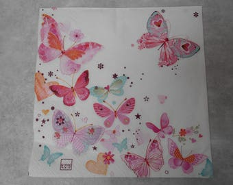 The butterfly themed paper napkin - size 33cm / 33cm