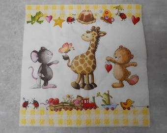 Childish themed paper napkin - size 33cm / 33cm