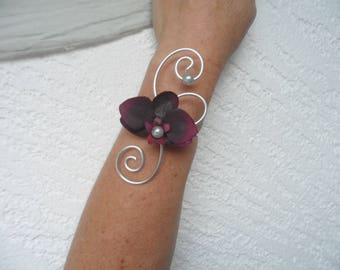 Flowers for wedding - plum and silver bracelet