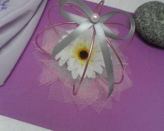 Table decoration for wedding or baptism......-centerpiece pink and gray