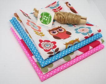 Owl Floral pink and turquoise poly cotton fabric, fat quarters, 25cm x 25cm