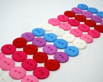 48x Pink/Blue Shades 2 Hole Buttons 15mm Small Buttons Art Buttons Bulk Buttons