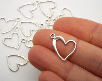 Asymmetric Heart Charm 16 x 16mm, Silver Coloured