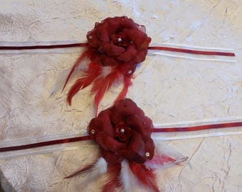 "Ribbon ""wedding procession"" Burgundy Flower Adornment"