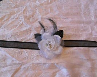 Ribbon black wedding flower bracelet / white
