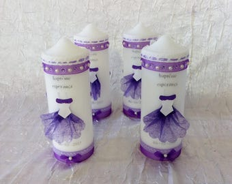 Candles for baptism, birth, birthday or communion color purple / white