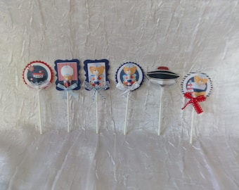 (Cupcake toppers) sailor theme cake decorations