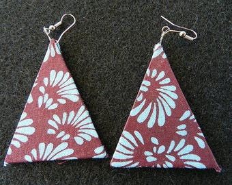 Wax triangle earring blue and Brown African wax fabric