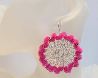 Dream catcher earrings pink so soft!
