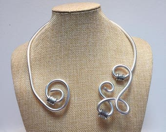 Jewelry necklace adjustable Silver Aluminum wire