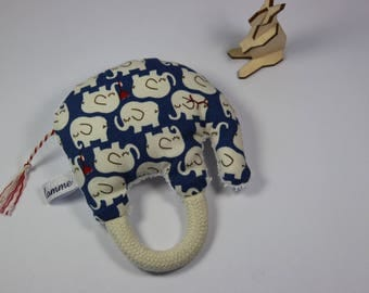 Blue and white elephant rattle.