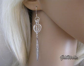 """The silver dagger Cage"" earrings"