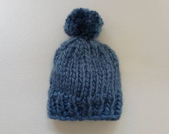 Baby Hat, Newborn Beanie, Baby Knit Hat, Baby Pom Pom Hat, Chunky Hat, Knitted Hat, Newborn Gifts, Hand knit hat, Blue Hat, Ready to ship