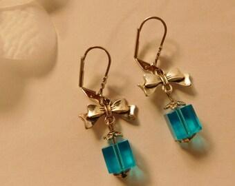 Bow blue cube glass bead earrings