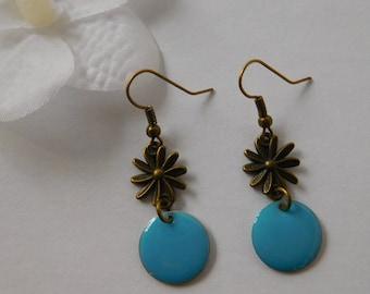 Earrings retro blue enameled sequin flower