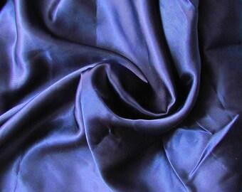 Dark blue polyester satin 93cmx58cm coupon