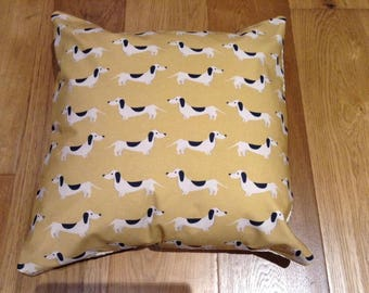 Dachshund /Sausage Dog Gold Cushion Covers / Pillow Covers