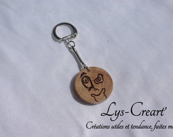 Round hand carved wooden, puzzled keychain