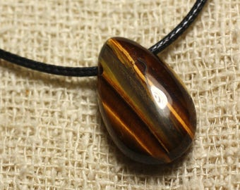 Stone - drop 25mm Tiger eye pendant necklace