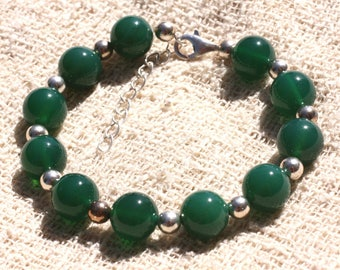 Bracelet 925 sterling silver and stone - 10mm Green Onyx