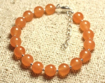 Bracelet 925 sterling silver and stone - 8mm Orange Jade