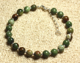 Bracelet 925 sterling silver and stone - green 6mm Opal