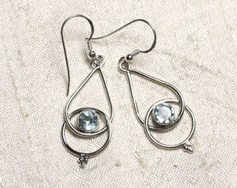 BO205 - earrings 925 sterling silver and stone Blue Topaz drops 36mm