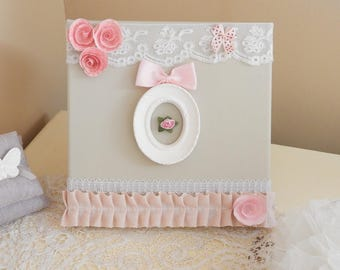 Shabby chic style table * pink fabric frame