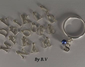 To personalize - 925 sterling silver ring charm 1 letter and its reflection blue Swarovski Pearl