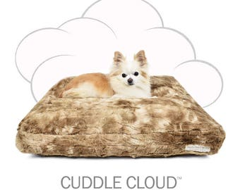 "Peluche Plush Cuddle Cloud Bunny Cocoa Dog Bed - 24"" Square"