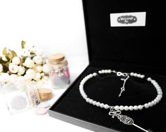 "Necklace beads silver cream ""7"" Alice"""
