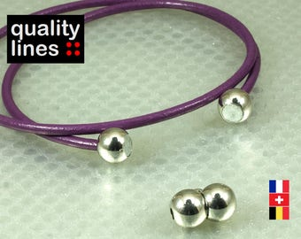 Silver magnetic clasp for leather bracelet 3mm round