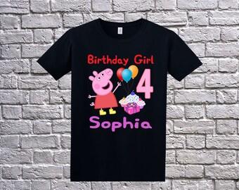 Peppa Pig Birthday Shirt, Peppa Pig Shirt for Girls, Personalized Peppa Pig Apparel, Custom Peppa Pig Birthday Shirt , Peppa Pig Theme Party
